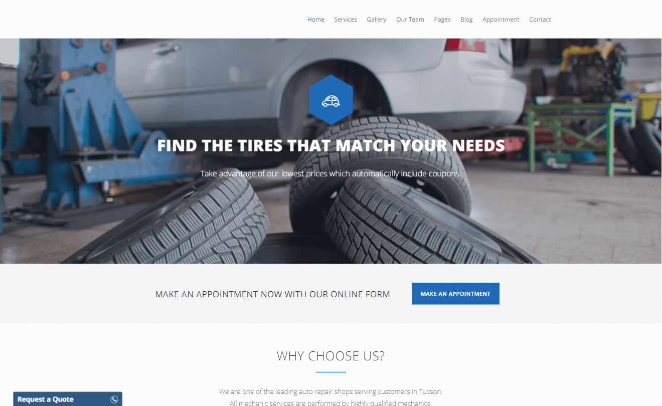 Car Service Website Development