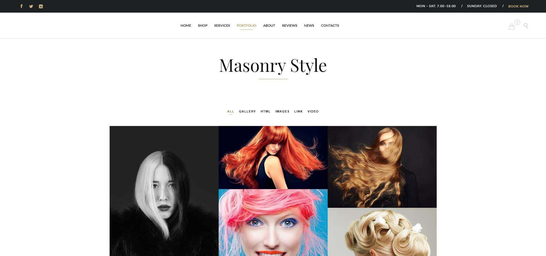 Beauty Website Portfolio Page