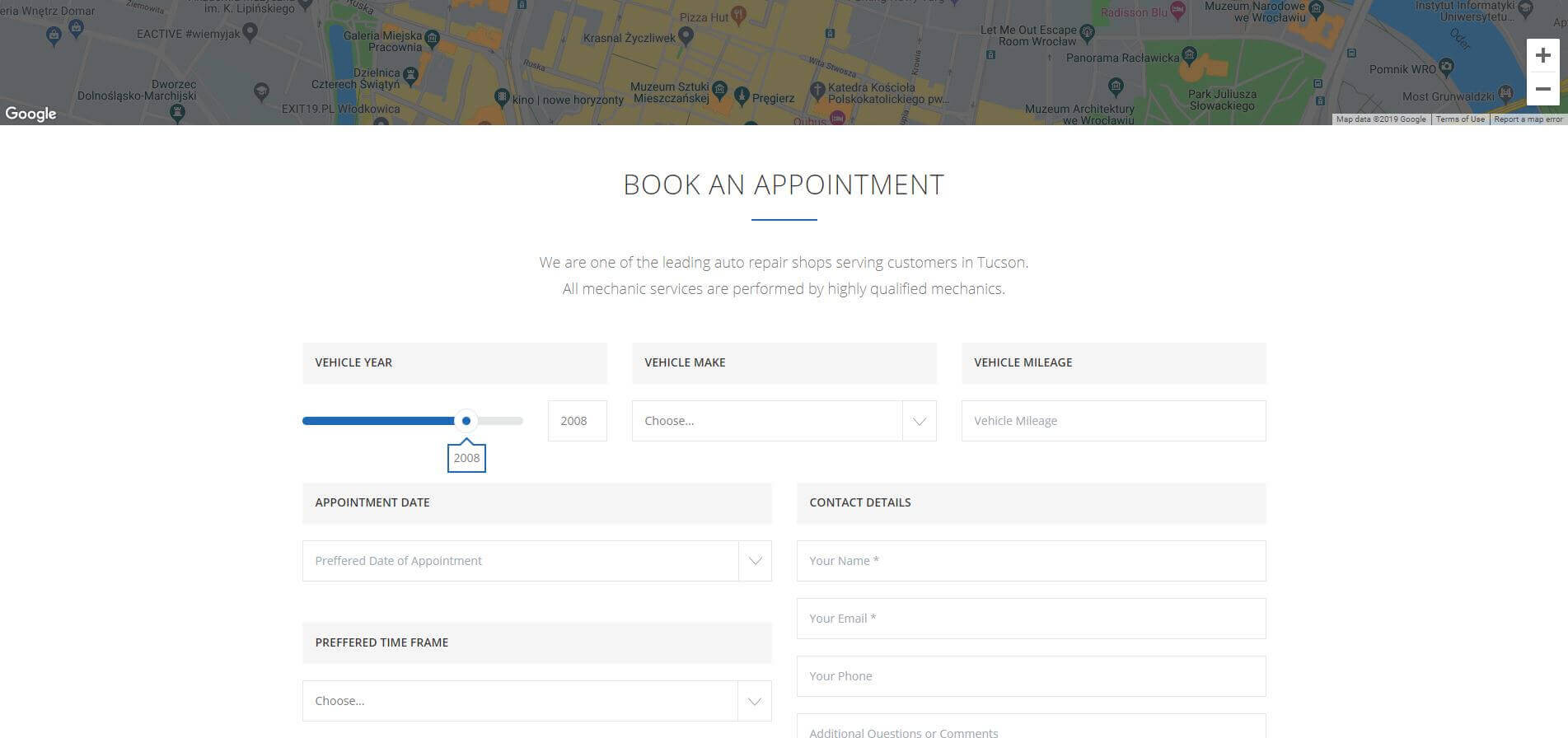 Car Service - Booking Page