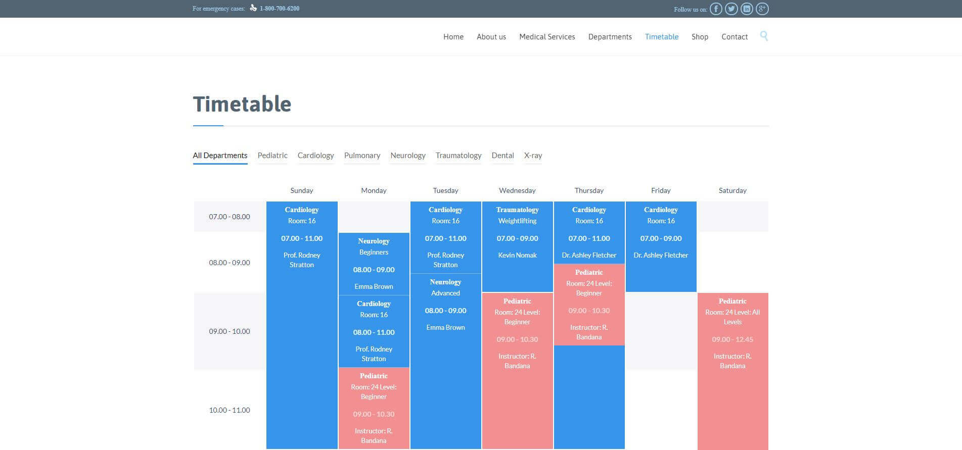 HealthCare Website - Online TimeTable