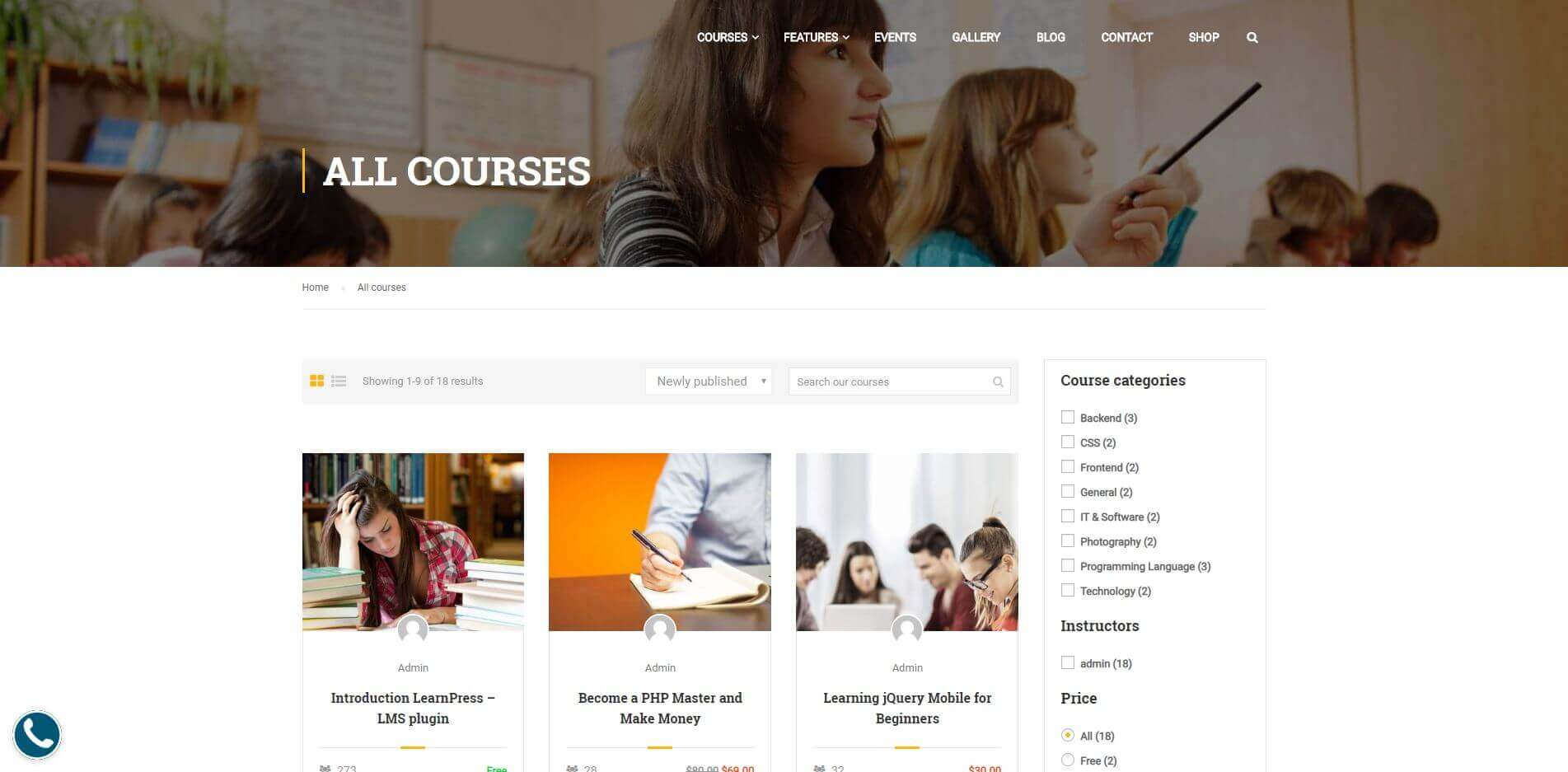 Education Website Courses Page
