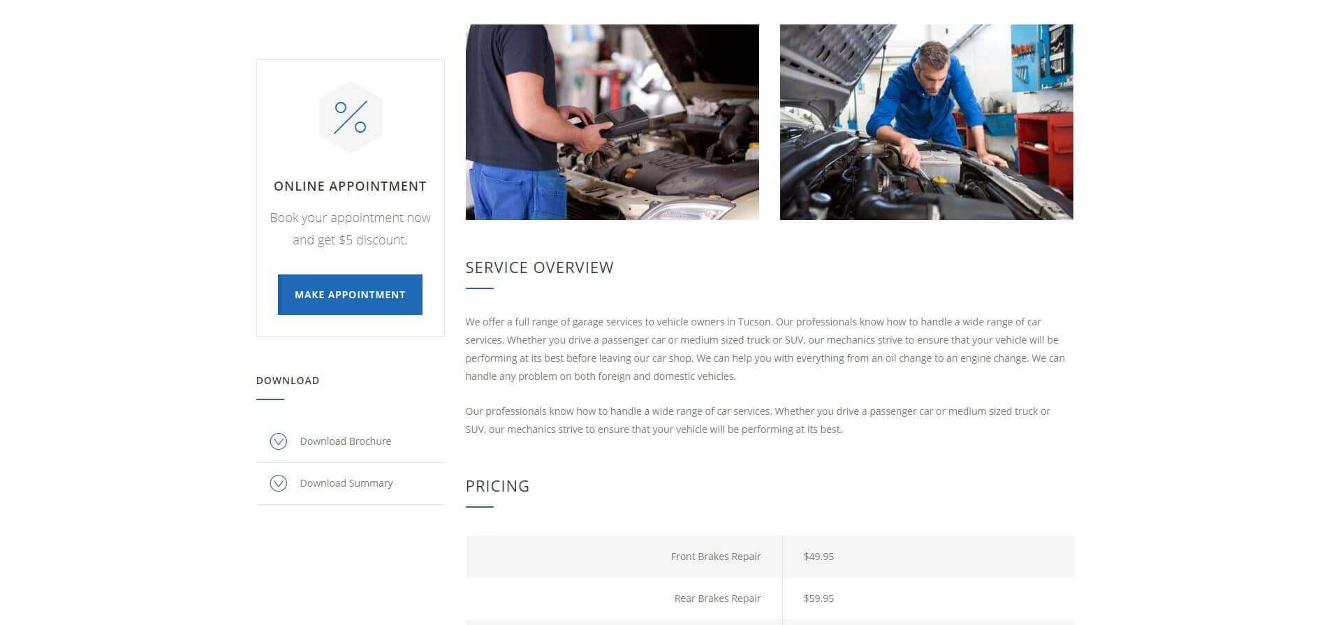 Car Website - Service Page