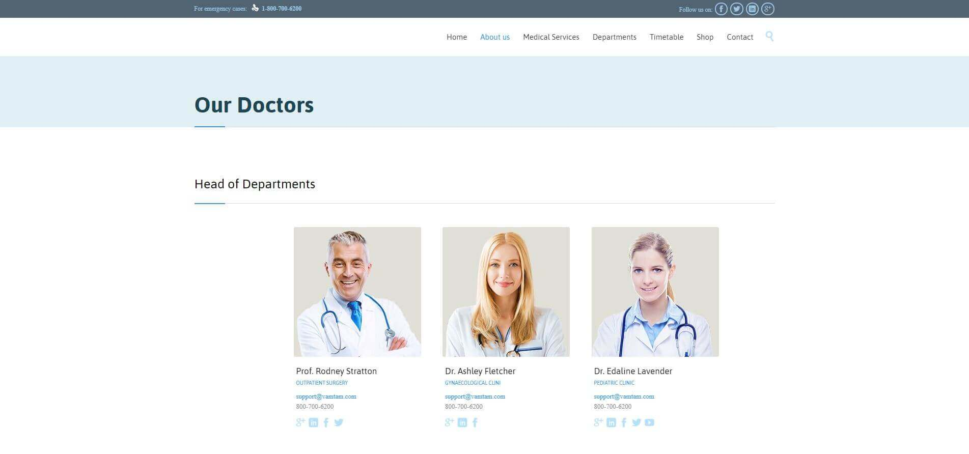 HealthCare Website - Team Page