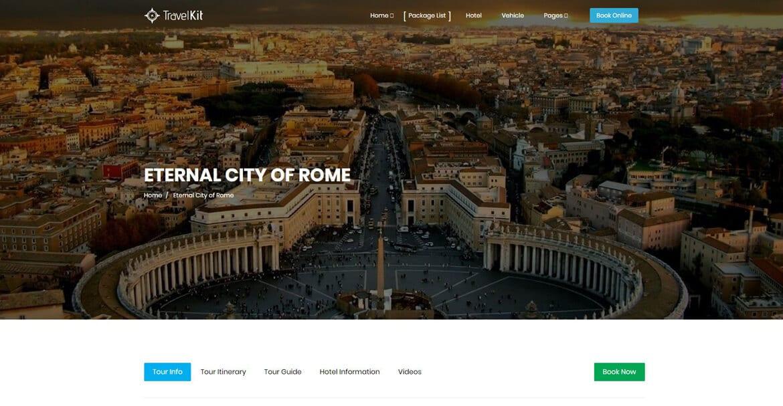 Travel Website Destination page