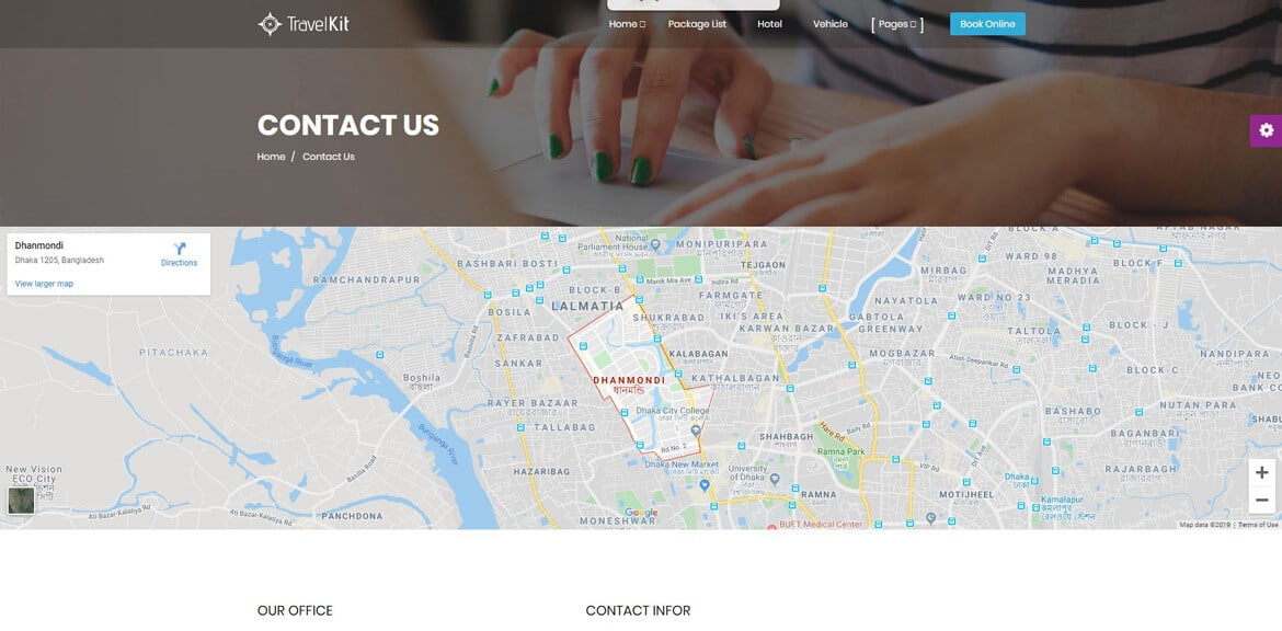 Travel Website Contact Page